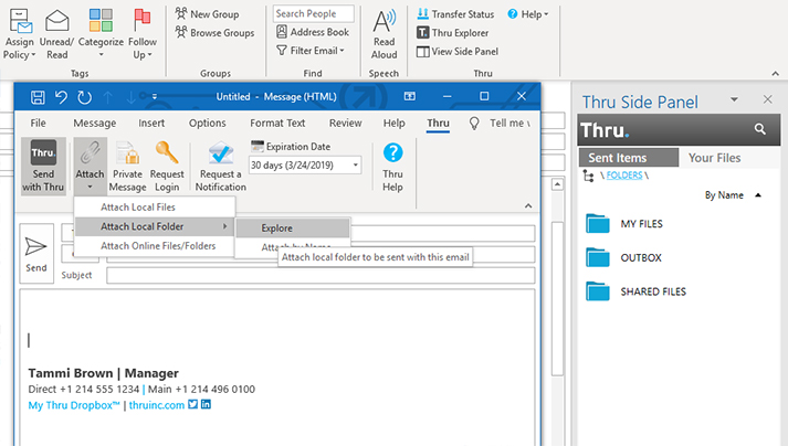 Screen of Thru integration with Microsoft Outlook including Side Panel